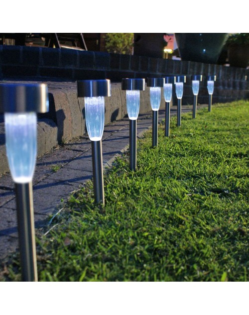 8PCS/LOT Stainless Steel Gardern Pathway Lawn Lamps Landscape Decoration LED White Light Solar Power Ground Insert Sense Lamp