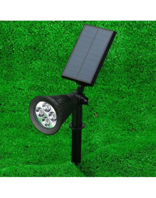 Rechargeable 4 LEDs 200LM Sensor Projector LED Solar Powered Lawn Lamp Light Landscape Fiture Garden Spotlight Lighting White