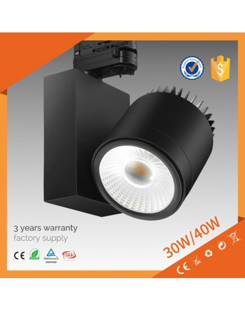 dimmable 3 years warranty led track light 40w, cob track light saa, spot track light led