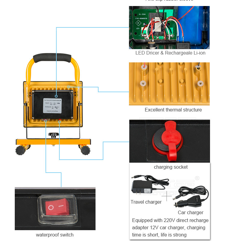 Waterproof outdoor ip65 portable rechargeable 20w led flood light